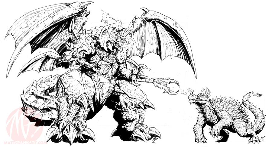 Godzilla IDW concepts - Angy and Dez by KaijuSamurai