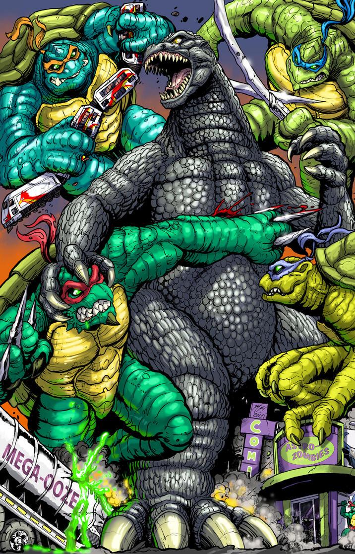 Godzilla vs TMNT - Astro Zombies Exclusive! by KaijuSamurai