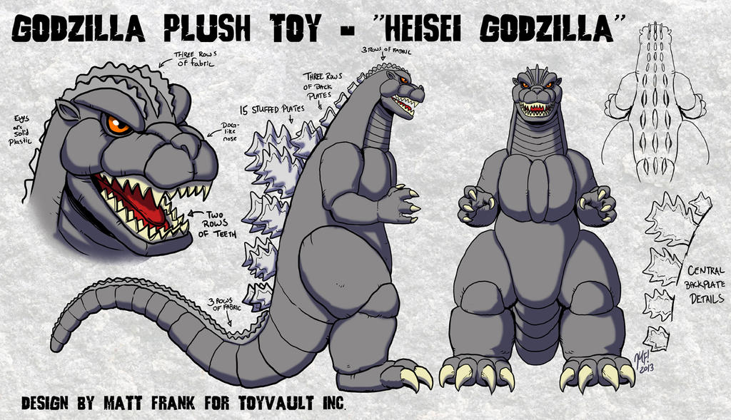 Godzilla Plush Design for Toy Vault by KaijuSamurai