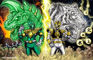 Rising Dragon Roaring Tiger - Morphicon Print by KaijuSamurai