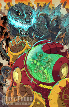 Rick and Morty vs Godzilla FCBD print