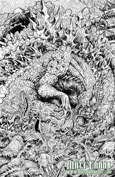 Godzilla: Rage Across Time #1 line art by KaijuSamurai
