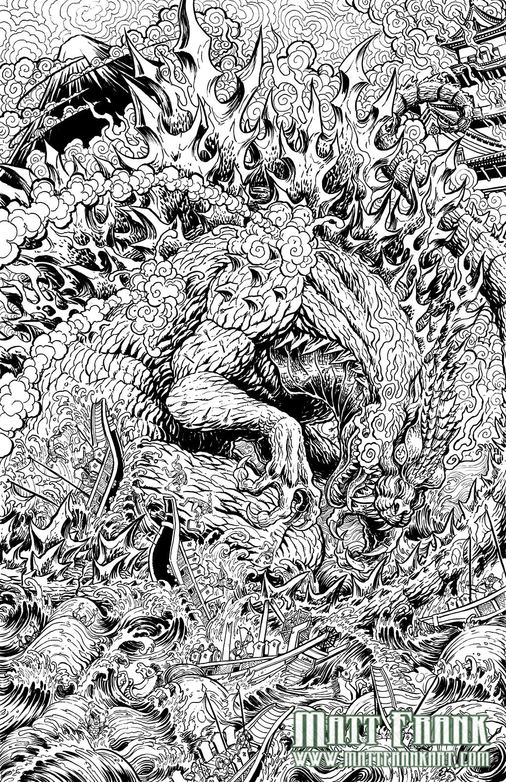 Godzilla: Rage Across Time #1 line art