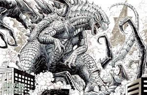 Godzilla vs the MUTOs sketch by KaijuSamurai