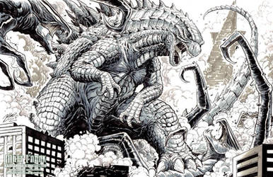 Godzilla vs the MUTOs sketch by KaijuSamurai