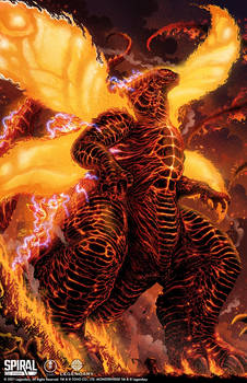 Burning Godzilla print for Spiral Studios
