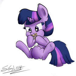 Twilight Eating a Pretzel