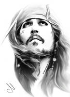 Jack Sparrow painting by perlaque