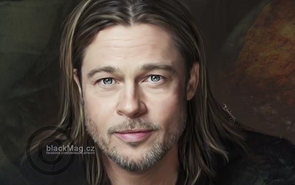 Brad Pitt Painting by perlaque