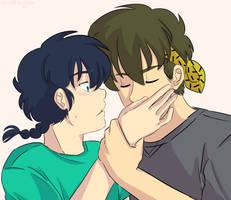 Ranma 1/2 - Ranma and Ryoga - Palm Kiss by Ranryo82