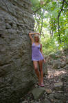 Girl Against Rock Wall 3