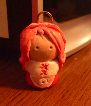 Sakura Maid . Clay Chibi Charm by fragile-star