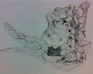 Pen Drawing of a Skull