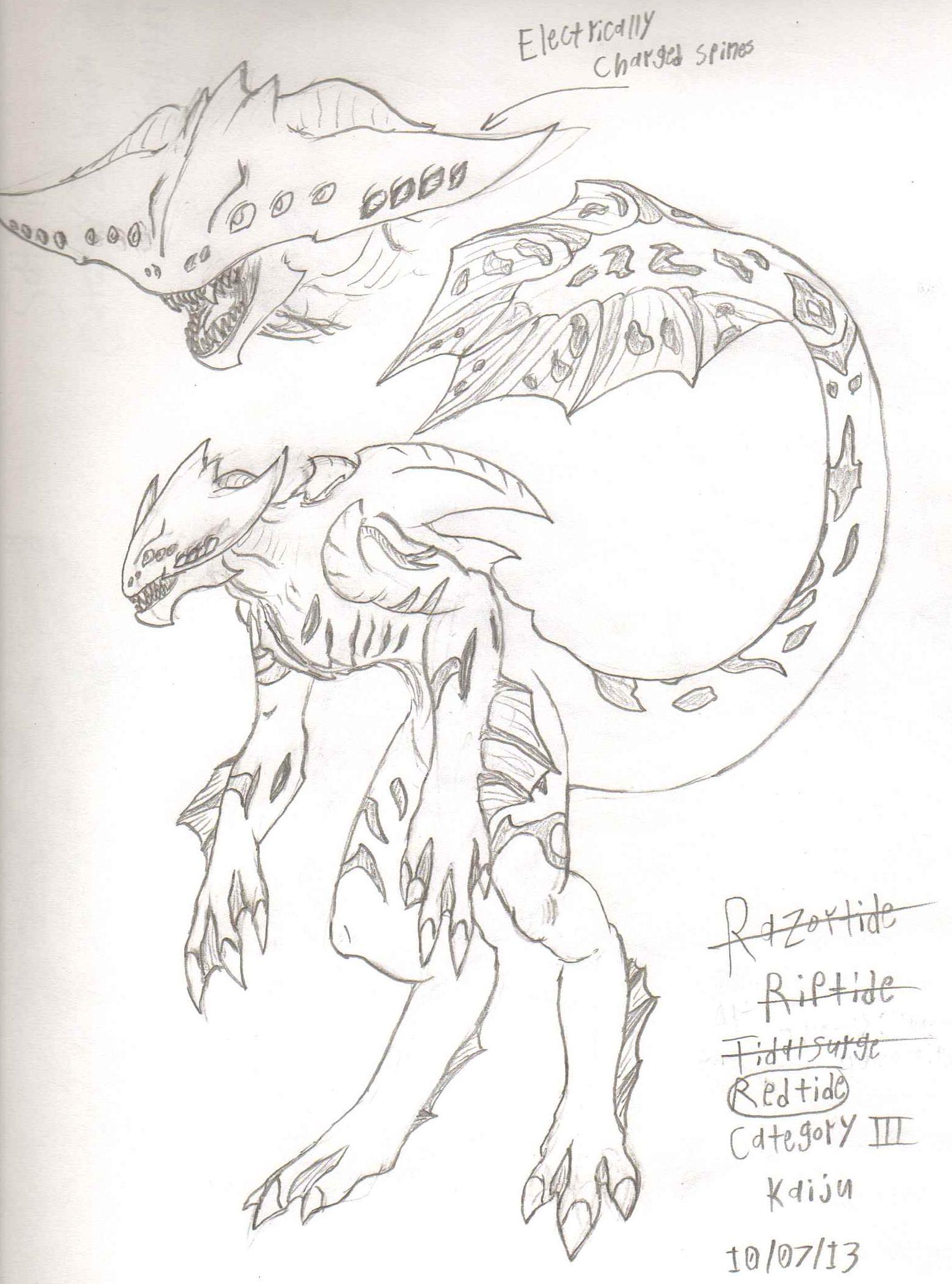 AdventDestiny's Kaiju Fan-Art Gallery Pr_redtide_sketch_by_adventdestiny-d6tt30s
