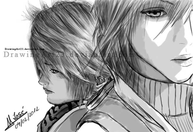 Lightning and Hope FF13 by DrawingArt23