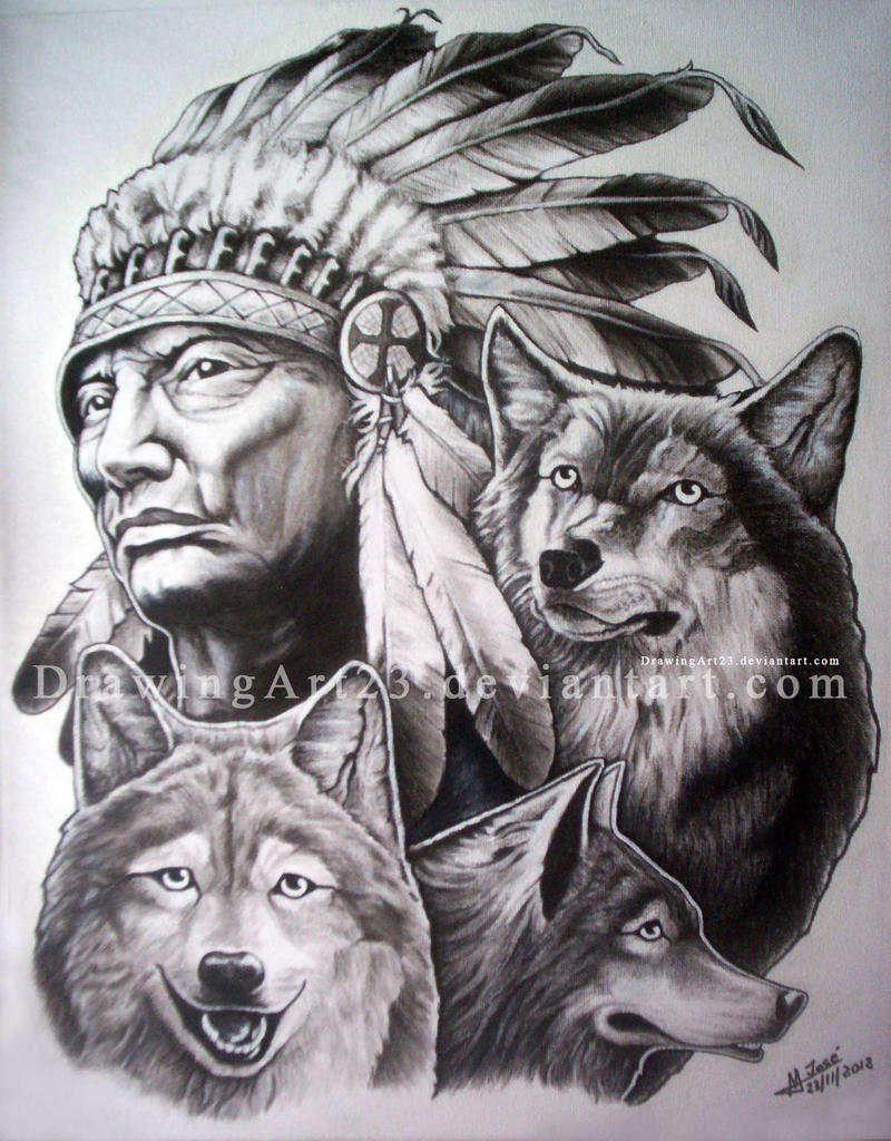 Uncategorized Indian Drawing indian with wolves by drawingart23 on deviantart drawingart23