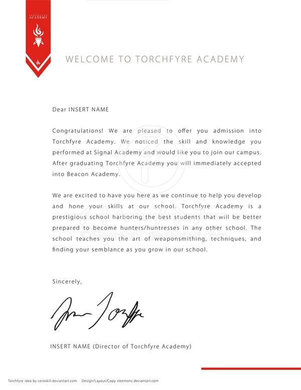 Acceptance Letter For Torchfyre By Sleemonc On DeviantArt