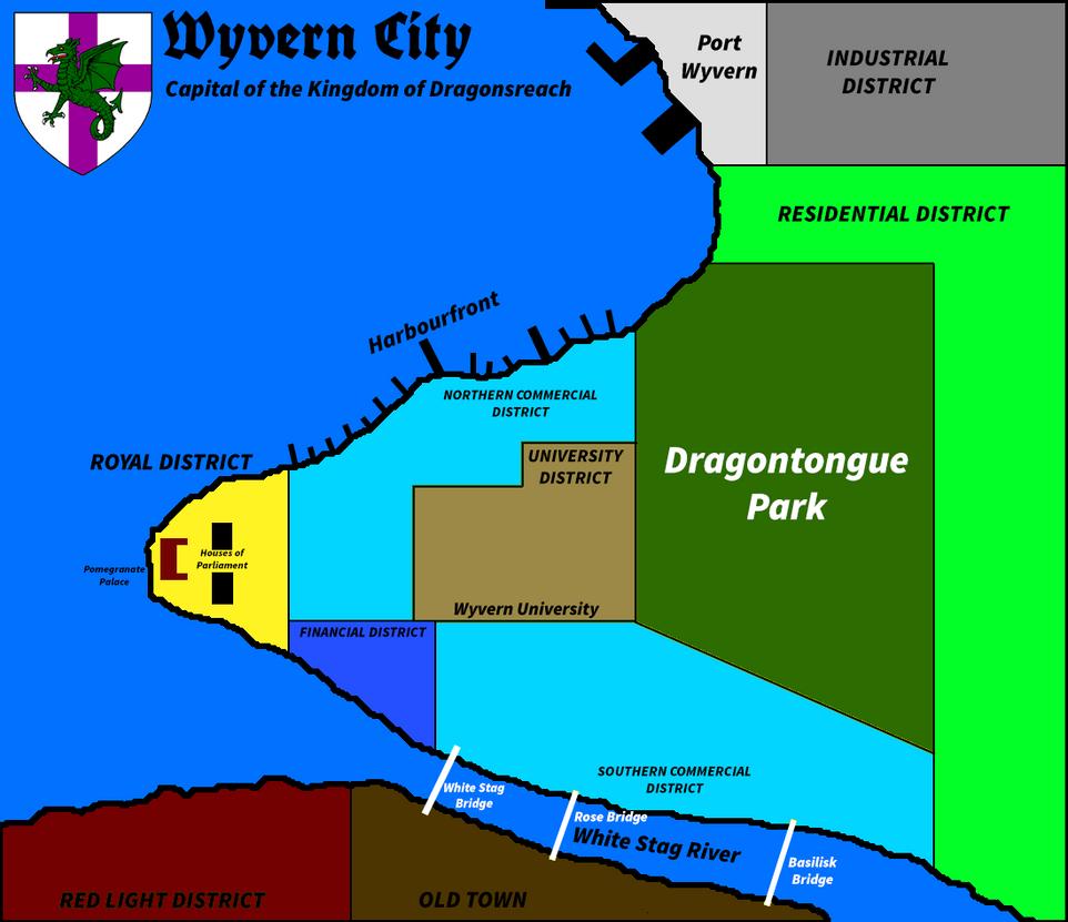 Wyvern City Map (first draft) by VenomousDragonaut