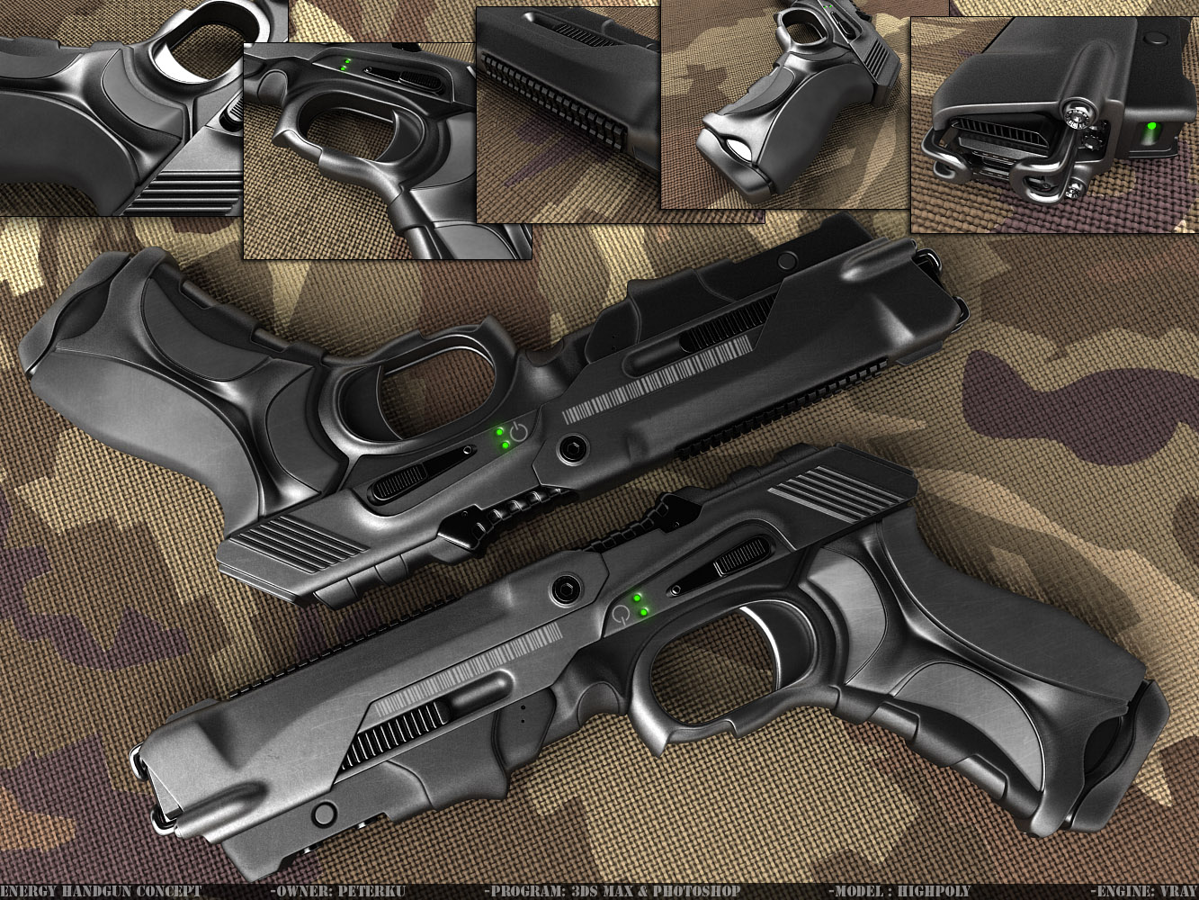 Energy handgun by peterku futuristic weapons pinterest for Conceptual designs