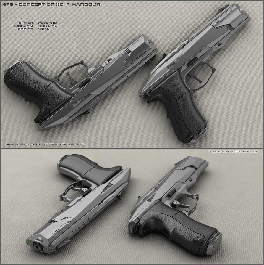 B78 - sci fi handgun by peterku