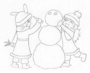 Ib and Mary are building a snowman by Natalya-Chan