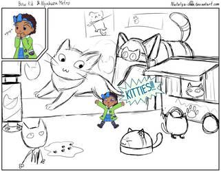 A Hat in Time: Bow Kid meets Nyakuza Metro. Sketch by Natalya-Chan