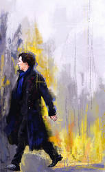 Walking Sherlock by WisesnailArt