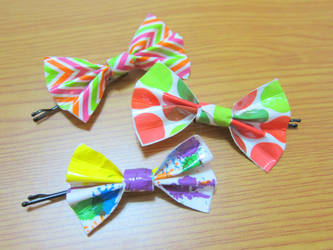 Duct Tape Hair Bows by neonjello17