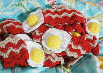 Two Bacon and Egg Scarves!! by neonjello17