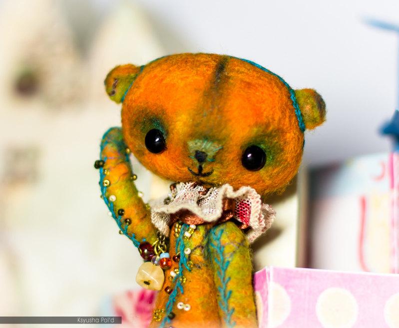 Teddy bear, Miniature, Orange, Felting Artist bear by Leopoldovna