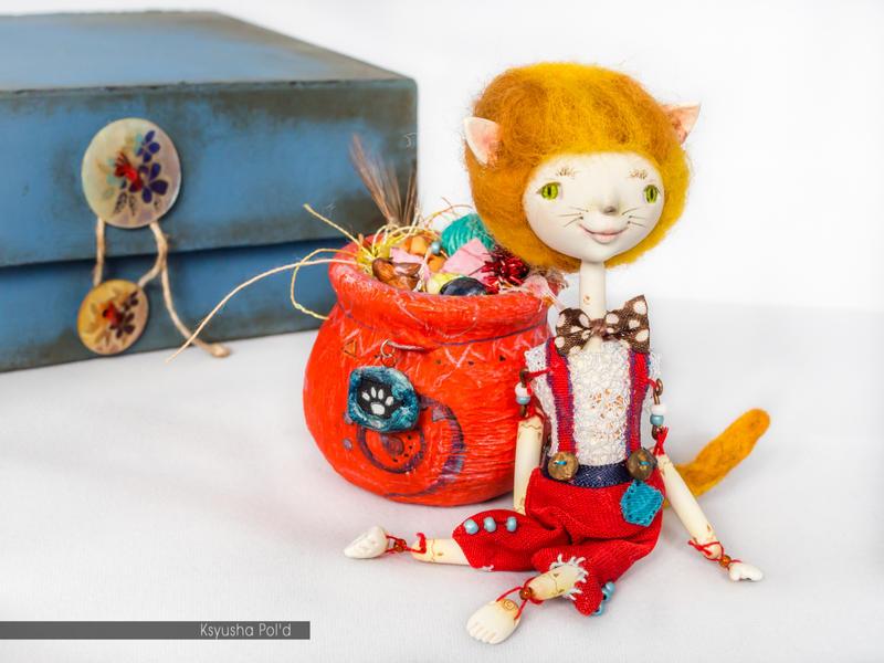 OOAK art doll Red dapper cat by Leopoldovna