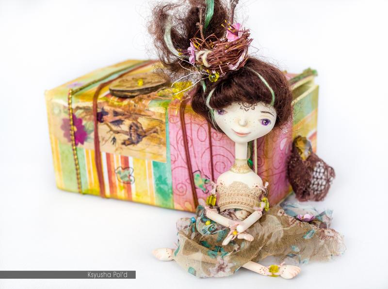 Handmade doll The spirit of spring in matchbox by Leopoldovna