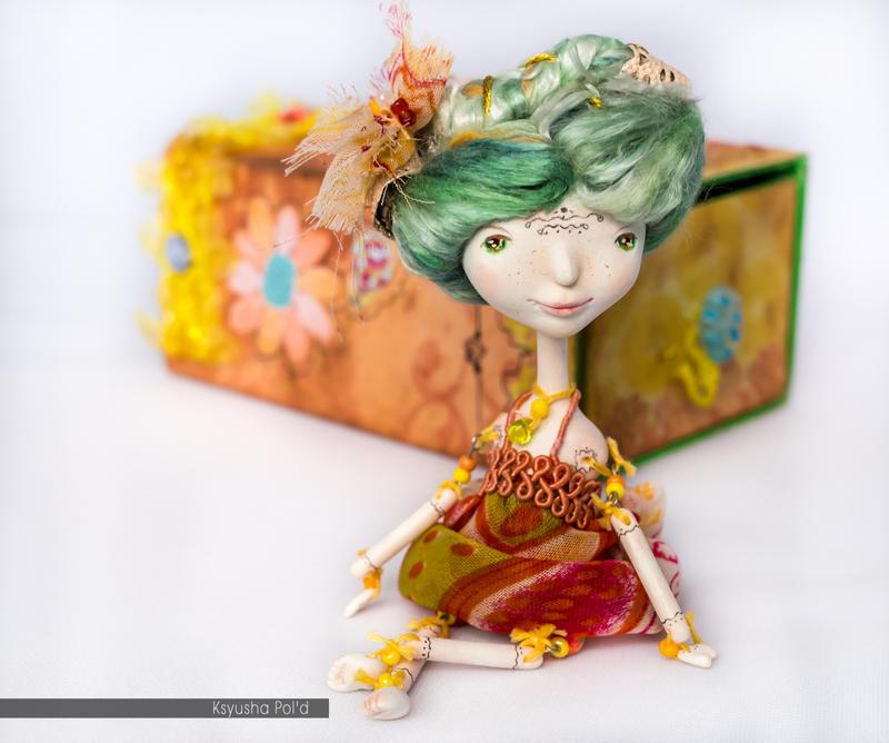 OOAK Art doll The spirit of summer in matchbox by Leopoldovna