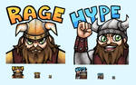 Rage and Hype Viking Twitch Emotes by Mr-Sage