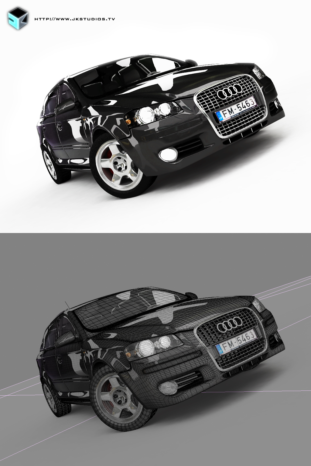 Audi A3, 3DS, Vray, edit+wire