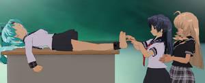 Fujiko tickled in class