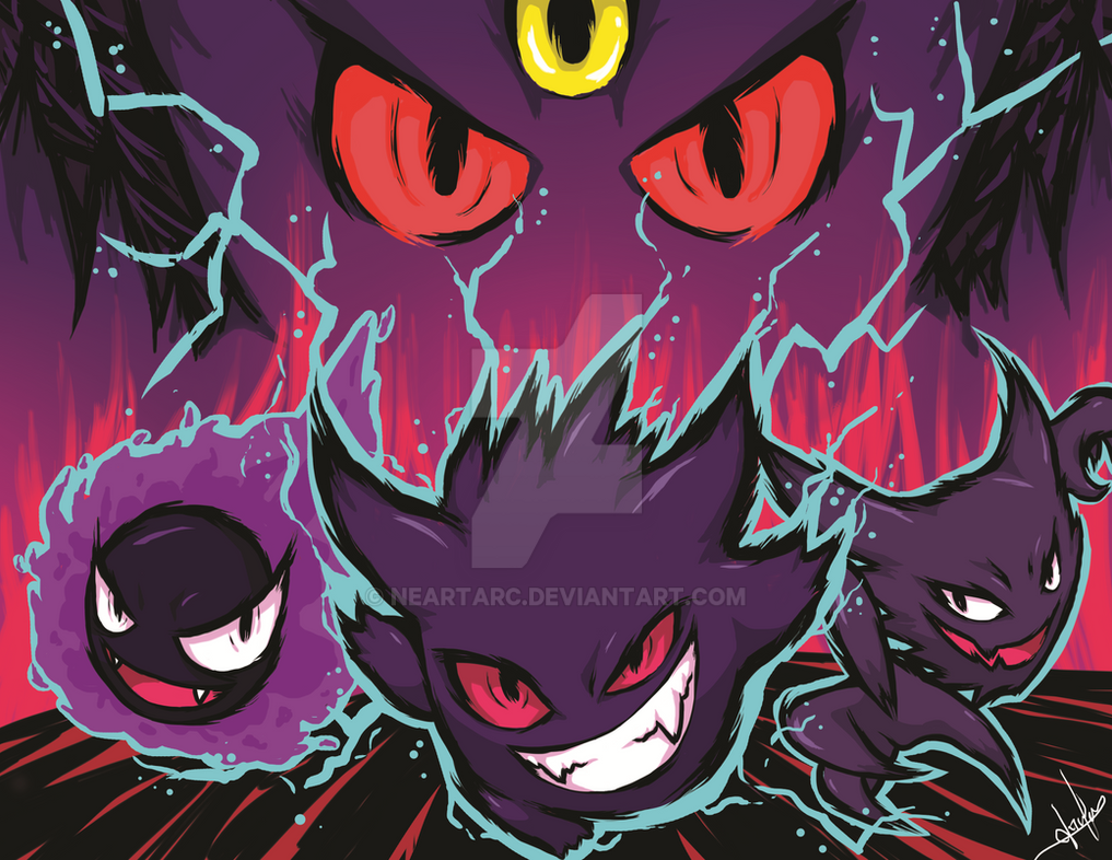 6a58424d Gastly, Haunter, Gengar and Mega-Gengat by NearTARC on DeviantArt