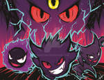 Gastly, Haunter, Gengar and Mega-Gengat
