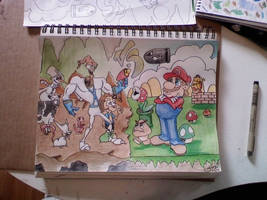 mario v.s eartworm jim colour by A-T-G-4