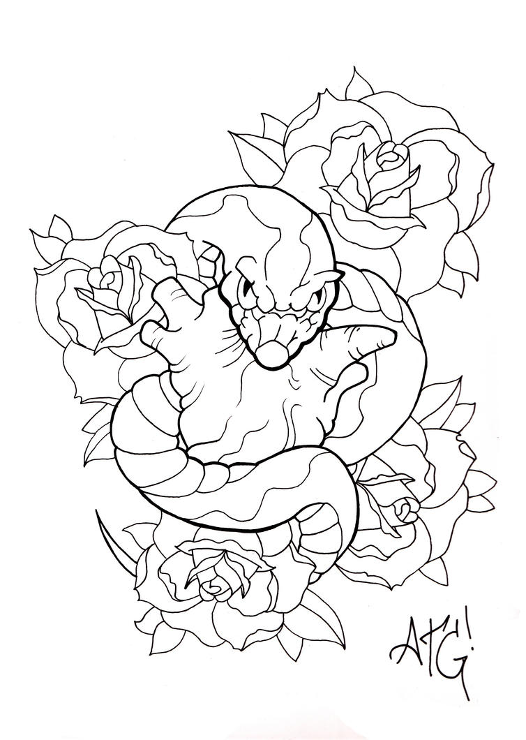 Tattoo Line Drawing Software : Snake eyes line by a t g on deviantart
