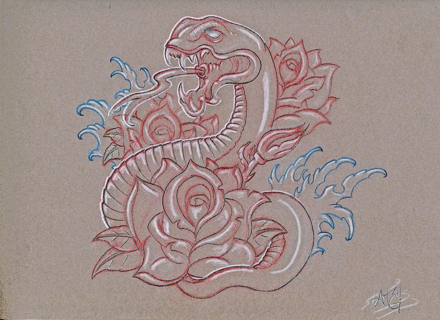 snake and roses sketch final by A-T-G-4