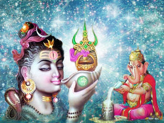 Shiva and Ganesha by Valleysequence
