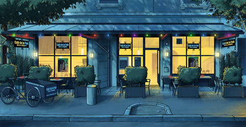 Cafe de la paix by night by yannou