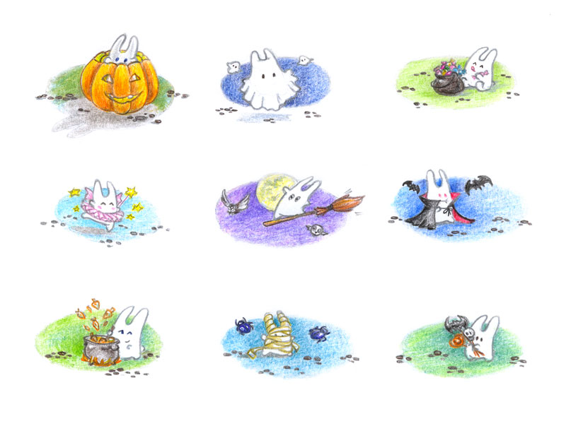 Halloween bunnies by jkBunny