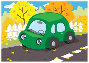 Little green car by jkBunny