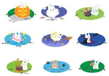 Halloween bunnies vector by jkBunny