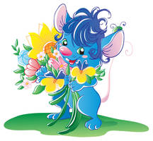 Blue mouse with flowers vector by jkBunny