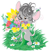 Gray mouse with flowers vector by jkBunny