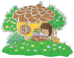 Hedgehog and books _vector by jkBunny