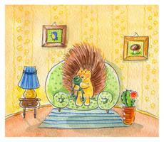 Hedgehog and frog by jkBunny